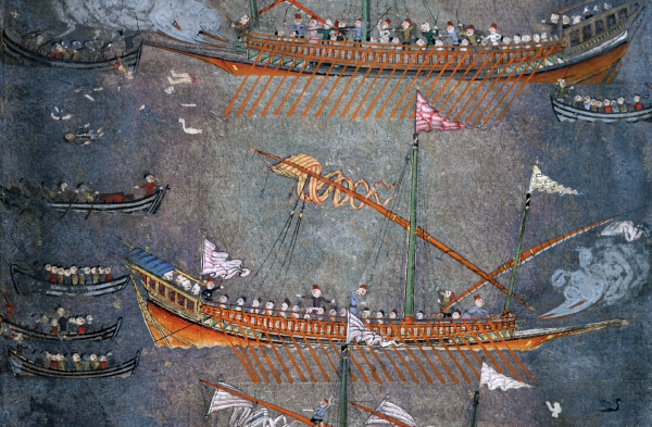 Zaporozhian Cossacks attack Turkish galleys in the Black Sea on Chaika boats. Photo reproduction from the original held in the British Library, London. Courtesy: Wikimedia user Very trivial